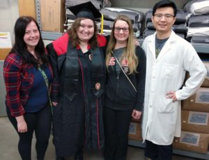Undergraduate Megan Stumpf and graduate student Xin Zhao on Family Lab Days
